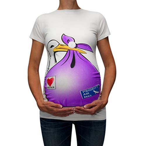 Womens Maternity T-Shirt,Short Sleeve Loose Cute Funny Print Top Tunic Pregnant Shirt Clothes (M, -