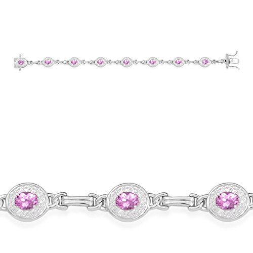 Created Pink Sapphire, Created White Sapphire Rhodium Plated Silver Bracelet 26.6 cttw Size 7.25