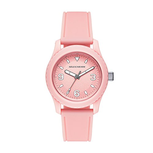Pink Watch Plastic (Skechers Women's Analog-Quartz Watch with Strap, Plastic and Silicone, 18 (Model: SR6145)