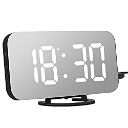 Adoric Alarm Clock, Digital Clock with Large 6.5 Easy-Read LED Display, Diming Mode, Easy Snooze Function, Mirror Surface, Dual USB Charger Ports