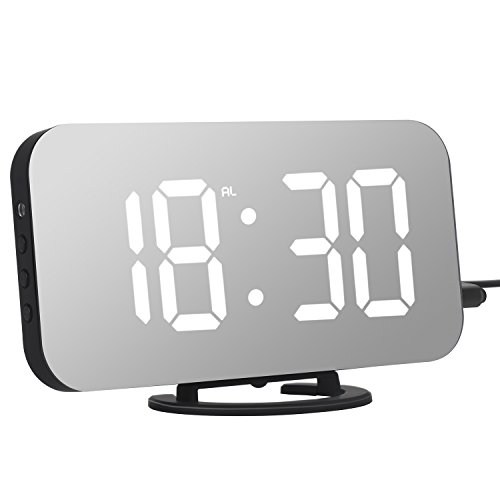 """Adoric Alarm Clock, Digital Clock with Large 6.5"""" Easy-Read LED Display, Diming Mode, Easy Snooze Function, Mirror Surface, Dual USB Charger Ports"""