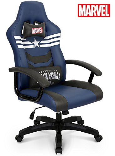 Premium Gaming Racing Chair: Licensed Captain America Marvel Collection Home Office Chair, Neo Chair (Captains Chair Guest)