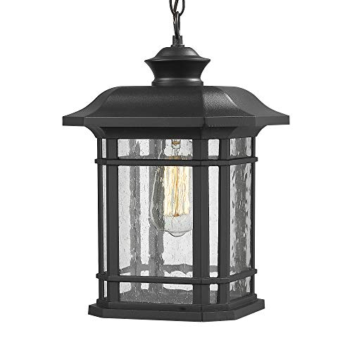 "Emliviar Modern Exterior Pendant Light Lantern, 14"" Outdoor Hanging Light in Black Finish with Seeded Glass, A2202110D1"