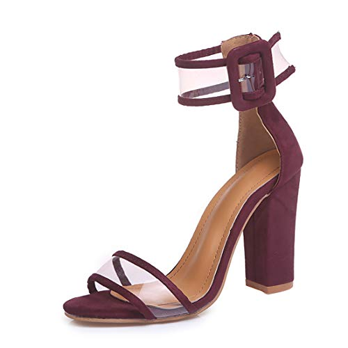 Women's Heeled Sandals Ankle Strap Block Chunky High Heel Open Toe Pump Sandals Transparent Wine red-9 ()