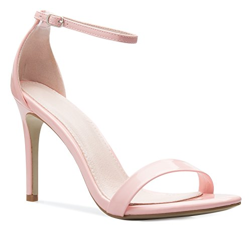 OLIVIA K Women's Ankle Strap Suede Patent Dress Sandals,6.5 B(M) US,Pink Patent