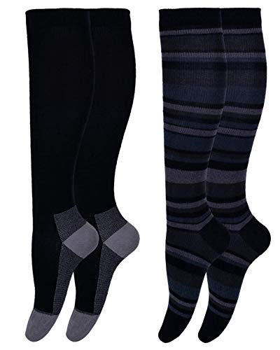 AprilTex Cotton Compression Socks for Men & Women (1-4 Pairs) Best Comfort Stockings for Nurses, Travel, Pregnancy, Running & Recovery - Boost Circulation to Fight Edema, Shin Splint & Pain