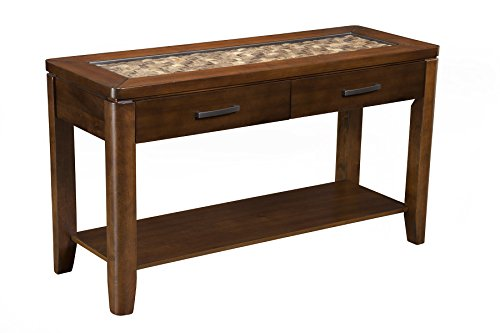 Alpine Furniture Granada Coffee Table with Glass Insert and Shelf -