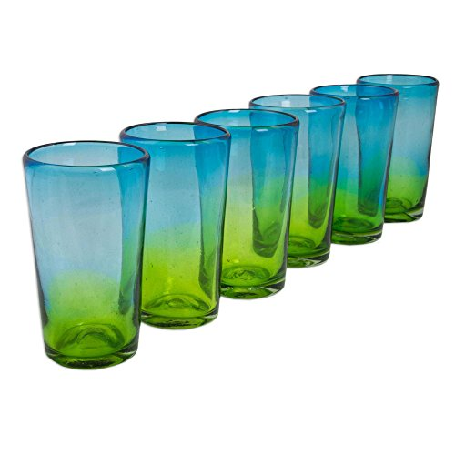 NOVICA Hand Blown Recycled Glass Blue and Green Ombre Highball Glasses, 15 oz, Aurora Tapatia' (set of 6) by NOVICA (Image #1)