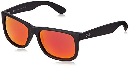 Ray-Ban RB4165 JUSTIN COLOR MIX 55mm Black Rubber Red Mirror Sunglasses, 55mm