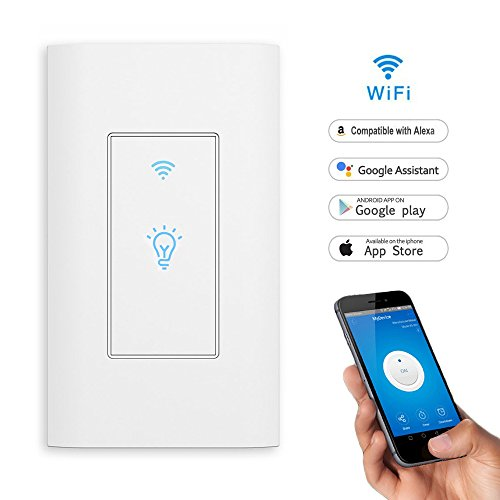 Smart Light Switch,LYASI In-wall WiFi Switch Remote Control Wireless Switch,Compatible with Alexa and Google Home,Timing Function,Control Your Fixtures From Anywhere,No Hub Required