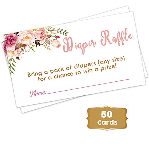 Boho Floral - Baby Shower Floral Diaper Raffle Tickets (50 Count) | Girl Baby Shower Game | Pink Flowers Diaper Raffle Tickets for Baby Shower | Fun Baby Shower Activities -
