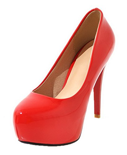 Pumps PU 36 Round Solid On Pull Shoes WeenFashion Red High Toe Heels Women's x7wqRRzI