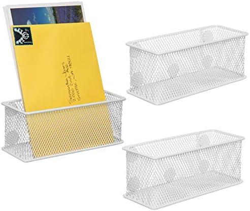 MyGift Magnetische Aufbewahrungskörbe, Netzstoff, Weiß, 3 Stück