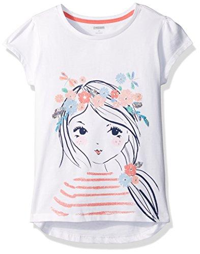 Gymboree Big Girls' Short Sleeve Flr Crown Graphic Tee, White, 12