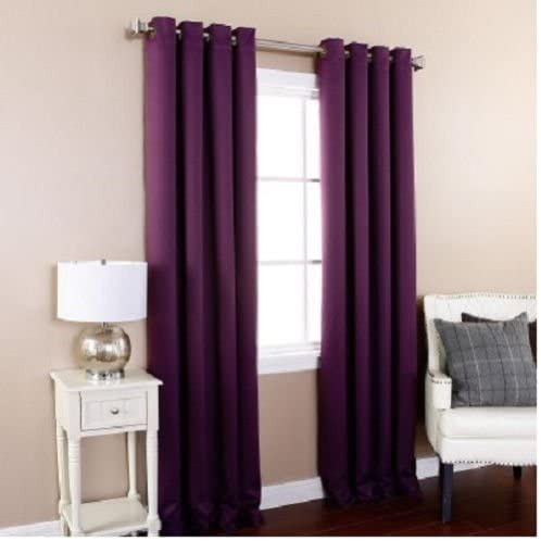 Gorgeous Home 32 1 Panel Solid Plum Purple Thermal Foam Lined Blackout Heavy Thick Window Treatment Curtain Drapes Silver Grommets 84″ Length