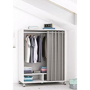 MANA Kit dressing sous comble contemporain blanc perle + rideau en ...