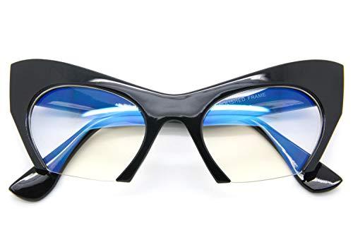 Black Cut Off Clear Lens Women Eyeglasses Designer Fashion Half Frame