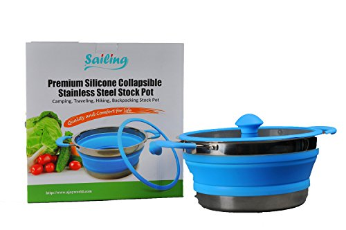 Sailing Premium Collapsible Stainless Steel three quart Silicone Stock Pot, Camping, Traveling, Hiking, Backpacking Stock - Quart 3 Collapsible