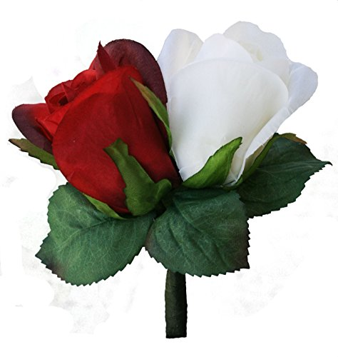 Red and Ivory Silk Rose Double Boutonnie