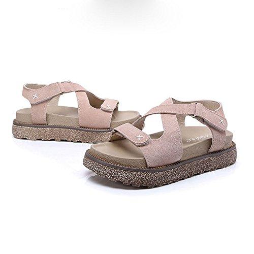 Cybling Été Épais Fond Sandale Pour Les Femmes Étudiant Mode Plat Romain En Cuir Sandale Abricot