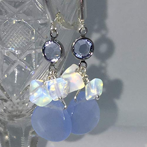 Sterling Silver Periwinkle Blue Faceted Glass Opalite Swarovski Crystal Earrings