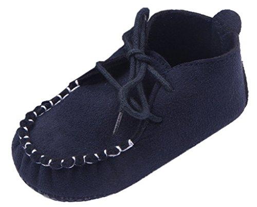 V-SOL Zapato Zapatilla Patuco Shoe para Bebé Primeros Pasos 1-azul oscuro