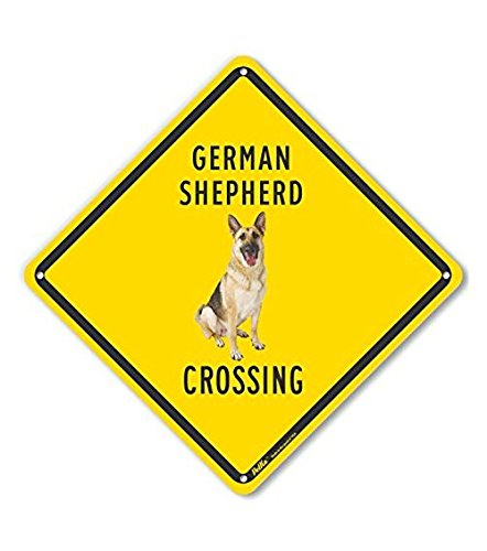 PetKa Signs and Graphics PKAC-0567-NP/_10x10German Shepherd Crossing Yellow Back 10 x 10 10 x 10 Lyle Signs Inc. Plastic Sign