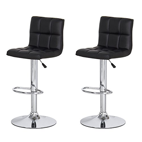 Captivating DecentHome Faux Leather Tufted 360 Degree Swivel Adjustable Barstool Chairs  With Chrome Finished Pedestal Base, Black, 2 Piece