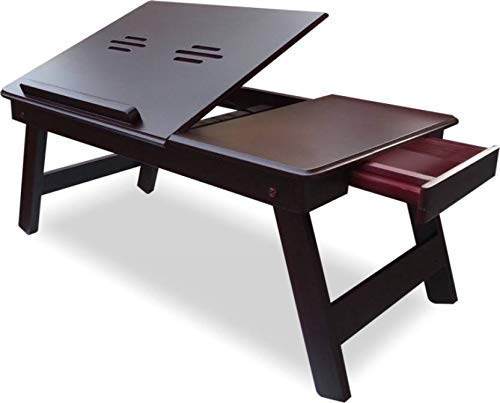 Gorevizon Foldable Adjustable Laptop Table with Drawer Chocolate Brown (Made in India)