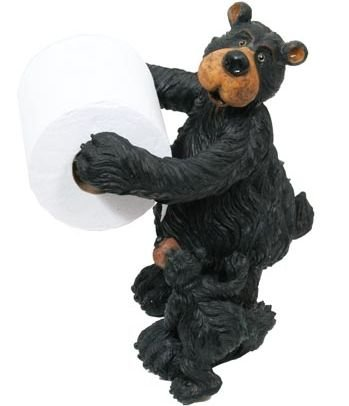 WD Willie Black Bear with Cub Free-Standing Toilet Paper Holder (Great Bathroom Decor) 12'' by WD
