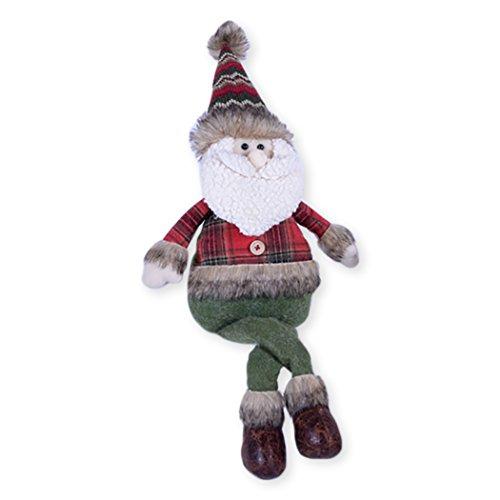 Large Santa Plaid Shirt Fur Trim 24 x 8 Plush Christmas Shelf Sitter Figurine (Christmas Sitters Shelf)