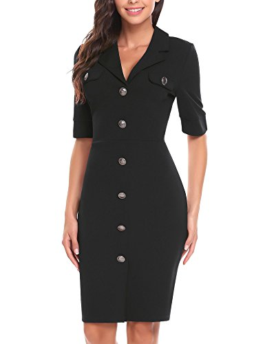 ANGVNS Women's Vintage Lapel Half Sleeve Slim Workwear Business Pencil Sheath Button Dress(Black L) by ANGVNS