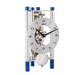 Hermle 23025T50721 Lakin Triangular Table Clock - Silver & Blue with an Arabic Glass Dial & Silver Pendulum