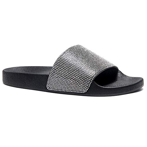 Herstyle Cosmic Womens Fashion Rhinestone Glitter Slide Slip On Mules Summer Shoe Platform Footbed Sandal Slippers Black 6.0