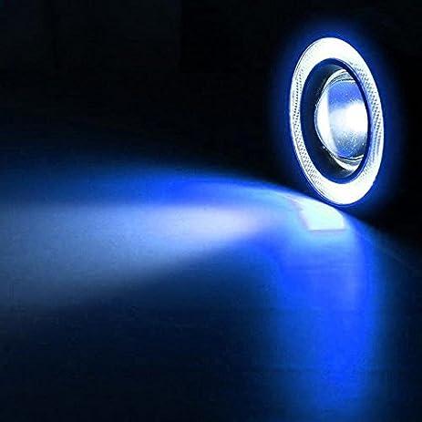 Eachbid 2Pcs 3.5¡± Blue White Fog Light Led Angel Eyes Projector Lamp High  Intensity