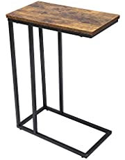 Yusong Industrial Side Table for Living Room, C Shaped Snack Table for Coffee Laptop, Stable Sofa Couch End Table with Metal Frame, Easy Assembly, Rustic Brown