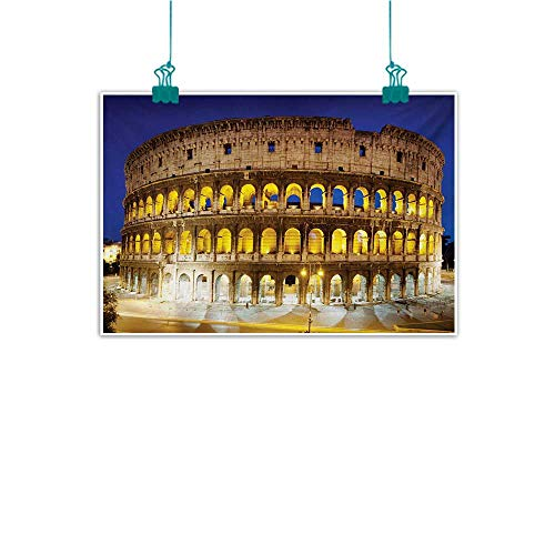 - Mdxizc Art Oil Paintings The Colosseum Historic Imperial Roman Architecture European Culture Symbol Bedroom Bedside Painting W35 xL24 Royal Blue Yellow Brown