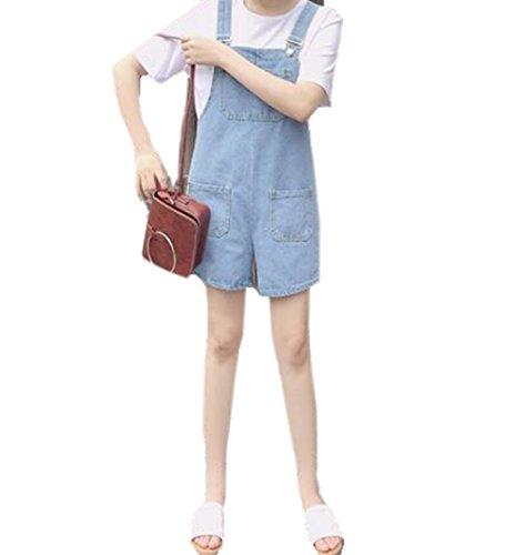 かもめ嘆願気づかないGuDeKe レディース サロペット デニム ショート丈 パンツ オーバーオール ポケット付き 短パン ガーリー ゆったり 着痩せ 学院