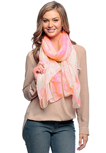 Peach Couture Summer Scarf Oversize Scarf Shawl Wrap Paisley Scarf Beach Scarf Neon Pink Scarf Henna Scarf Designer Scarf Sheer Scarf Long Scarf Beach Sarong Beach Cover Up Light weight Scarf Neon Pink