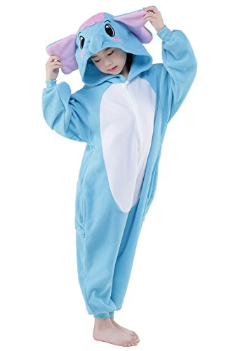 NEWCOSPLAY Unisex Children Elephant Pyjamas Halloween Kids Onesie Costume (105, Blue Elephant) -