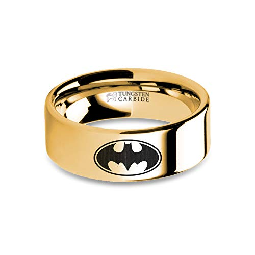 Batman Bat Signal Symbol Engraved Gold Tungsten Wedding Band - 8 mm ()