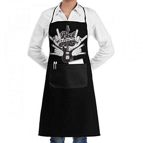 Yohafke Rock Hands Music Guitar Chef Kitchen Cooking Aprons BBQ Bib Apron with Pockets for Women -