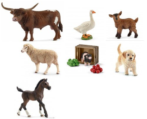 (Schleich New Set of 7 Farm Animals: Texas Longhorn Bull, Arabian Foal, Piglet and Feed, Golden Retriever, Goat Kid and Sheep in Bag with Tissue Paper)
