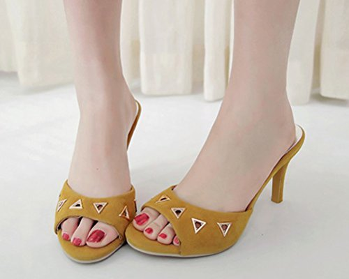 and Mules Candy Yellow HiEase Colors 4 Slipper Size Clogs Metal Sandals Women's Fashion 11 Stilettos Toe Peep qx1fc41