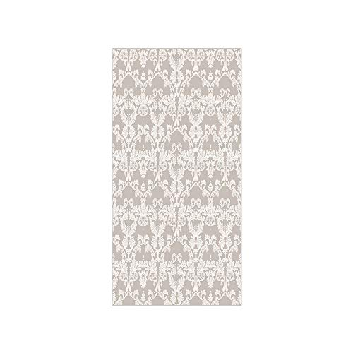 3D Decorative Film Privacy Window Film No Glue,Taupe,Nature Garden Themed Pattern with Damask Imperial Tile Rococo Inspired Stylized,Taupe and White,for Home&Office