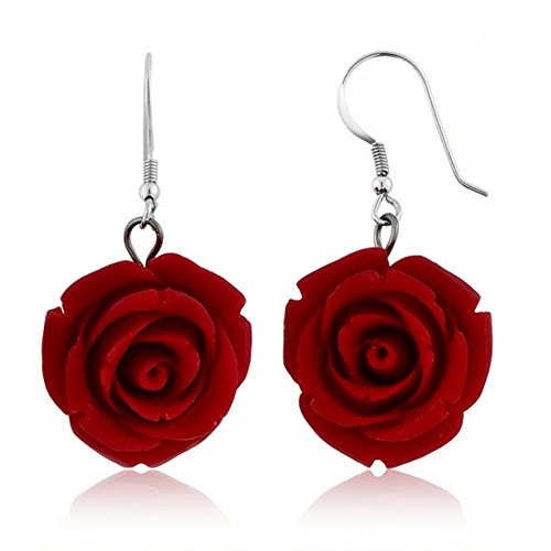 Nuwastone 20MM 925 Red Simulated Coral Carved Rose Flower Earrings Steel Needle (Red Coral Carved Flower)