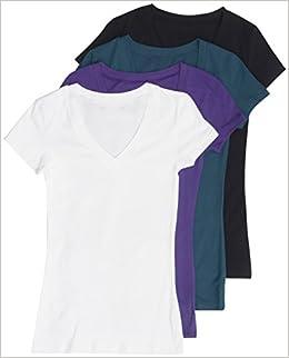 c926cee46 4 Pack Zenana Women's Basic Plus V-Neck Tees 2X Black, White, Purple, Teal:  0042768476147: Amazon.com: Books