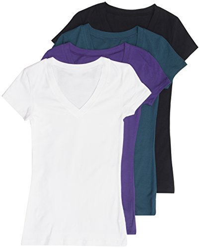 Buy cheap 4 Pack Zenana Women's Basic Plus V-Neck Tees 2X Black, White, Purple, Teal