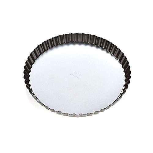 (Non-Stick Fluted Flan Tin, Pie Cake Pan, 8/10/11 Inch Quiche Tart Baking Pastry Mold Tin Removable Loose Bottom (10 Inch))