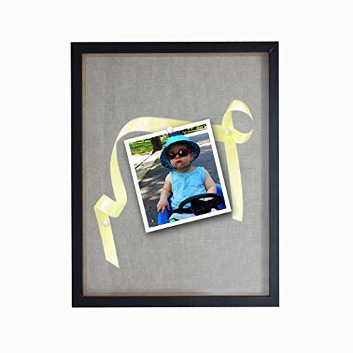 """- Solaya Shadow Box 12""""x15"""" Black Wood & Acrylic Shadowbox Picture Frame with Soft Linen Back – Sturdy Wall Display Case for Photos, Tickets, Memorabilia, Medals, Certificates"""